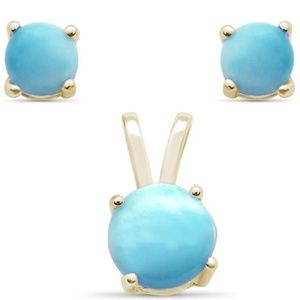 yellow gold plated natural larimar round set
